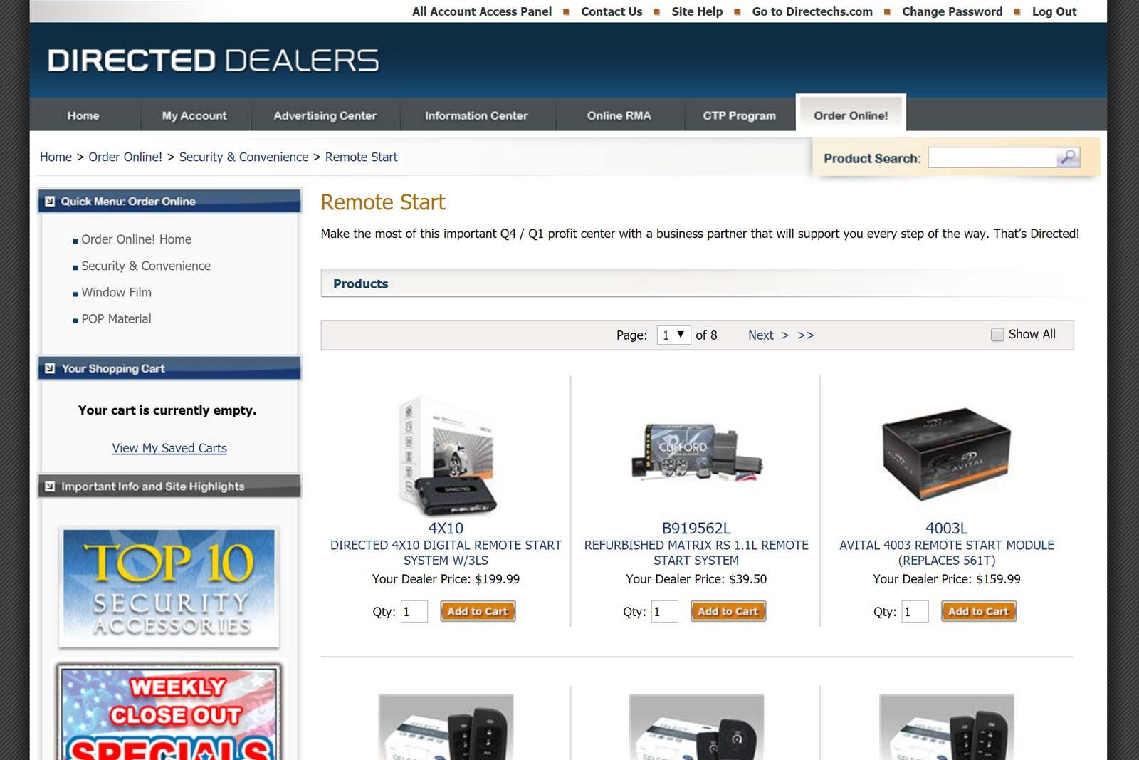 Directed For Dealers Remote Start Help Full Online Order Processing